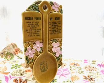 Vintage Spoon Rest. Souvenir. Kitchen Prayer. Dogwood Blossoms, Alabama.
