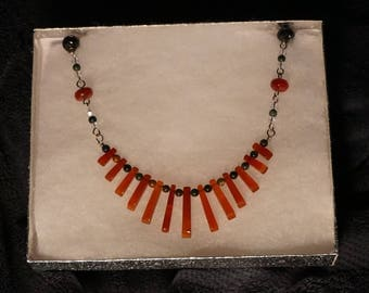 Carnelian Gemstone Egyptian Revival Fan Necklace with Bloodstone, Banded Agate and Clear Quartz Crystal Beads.