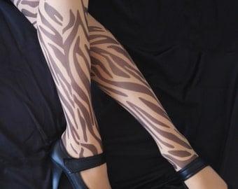 New Zebra Tattoo  Tights, Semi-sheer Printed tights, Tattoo Tights, Pantyhose, Stocking, Animal print