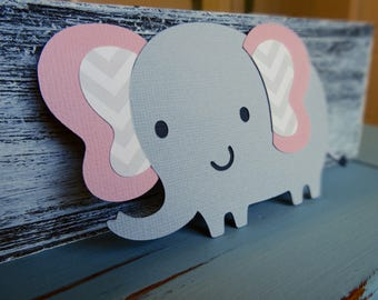 Set of 10 Gray and Pink Elephants