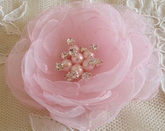 Singed Flower Singed Rose Organza Flower Fabric Flower Fabric Rose Pearl and Rhinestone (3-1/2 inches) In Pink MY-644 Ready To Ship