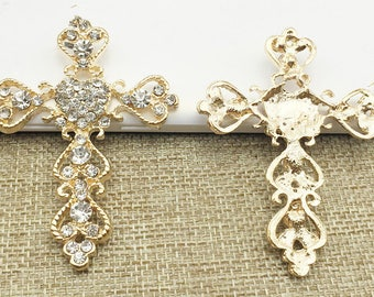 2 Flat Back Pearl Button Crucifix Button Embellishment (64x49 mm) DT-300