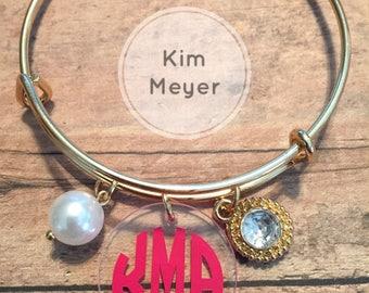 Monogram bangle bracelet, personalized bangle, Mother's Day gifts