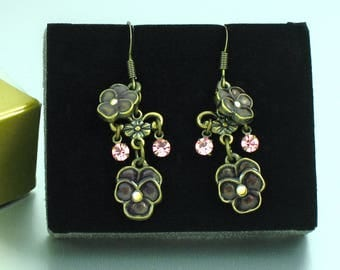 Vintage AVON 'Flower Drop' Pierced Earrings with Original Box. Antique Bronze Pansy Earrings. Avon Flower Earrings. Vintage Avon Jewelry