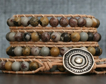 boho chic jewelry - wrap bracelet- crazy horse jasper on natural leather- beaded - mens or womens - western bohemian gypsy - wild horse