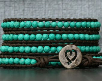 turquoise wrap bracelet- turquoise nuggets on black brown leather- beaded - bohemian western jewelry