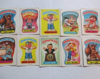 lot of 10 Vintage Garbage Pail Kids stickers