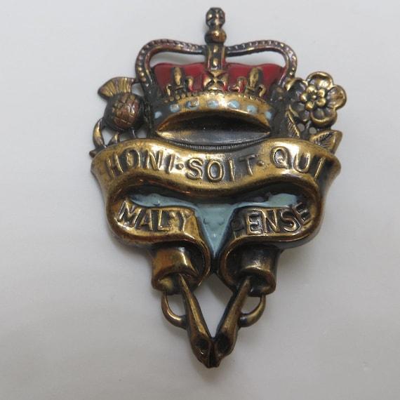 Heraldic Crown and Shield Brooch, Vintage Crown Pin, Vintage Shield