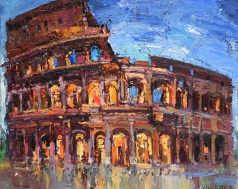 """Symbol of Rome. Colosseum Italy painting, 23.6"""" x 27.5"""" Ancient architecture, Ready to hang, Fine art by Valiulina"""