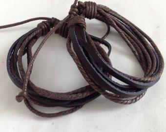 Handmade Genuine Leather Adjustable Bracelet.