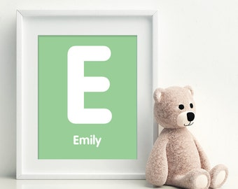 E is for EMILY -  Initial Letter Alphabet Personalized Name Wall Art Home Decor Nursery Wall Art, Children's Wall Art, Playroom Decor