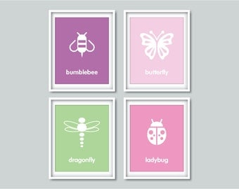 BUGS & INSECTS SET - Bumblebee, Butterfly, Dragonfly, Ladybug - art prints, kids nursery decor, playroom decor