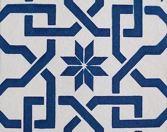 Handmade Cyanotype - Alhambra Wood Detail