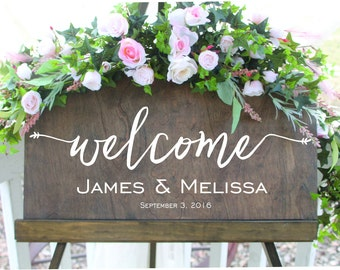 Welcome to our wedding sign, personalized wedding sign, welcome name and wedding date sign