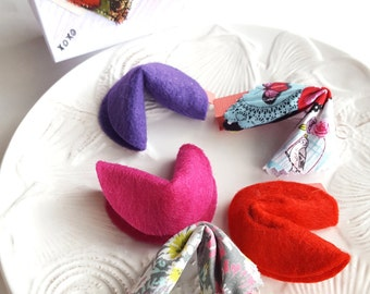 Valentine's Day Decoration Box Inspirational Fabric Fortune Cookies Fabric Valentine Decor Fabric Wings Heart Valentine Box-Set of 5
