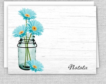 Aqua Daisies in a Mason Jar Personalized Note Cards, Personalized Stationery, Set of 10 Folded Note Cards