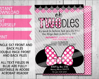 Oh Twodles Invitations Minnie Mouse Inspired Printable Template Instant Download Editable Girls Birthday Party- Pink 5x7