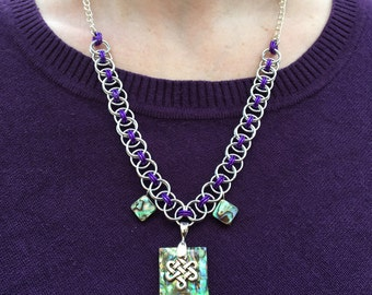 Purple Chainmaille Knotwork Mother of Pearl Necklace
