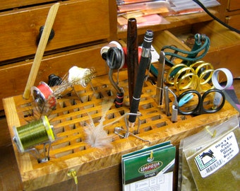 The Wooden Fly fly tying tool rack - prototype