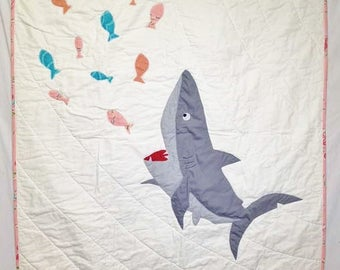 Personalized baby girl quilt, Shark blanket, Shark bedding, Baby quilt, Nautical baby bedding, Nautical quilt, Coastal quilt for sale