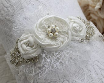 Baby Headband white lace and silver crystal applique headband rose detail.