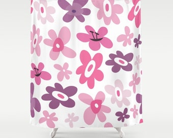 Pink Shower Curtain, Pink Flowers, Girls Shower Curtain, Teen Shower, Mod  Shower