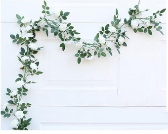 Artificial Wedding Arch Flowers White Rose Garland 100cm Leaf Garland Fake Flower Vine  Realistic Flower Garland For Home Wedding Decoration