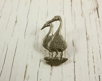 Vintage Kirk Stieff Pewter Duck Pin (retro 80s 1987 moss small little cute bird goose pair animal brooch silver tiny miniature)