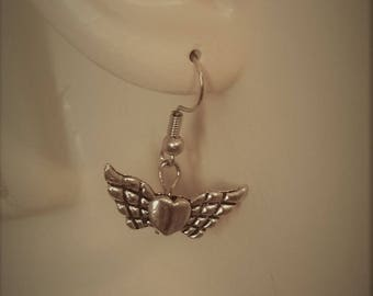 Winged Heart Drop Earrings