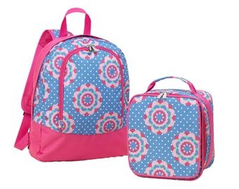 Matching Preschool Backpack and Lunch Bag in Zoey Design... Personalized FOR FREE just for you.