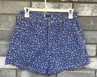 90s floral high waisted purple denim blue shorts