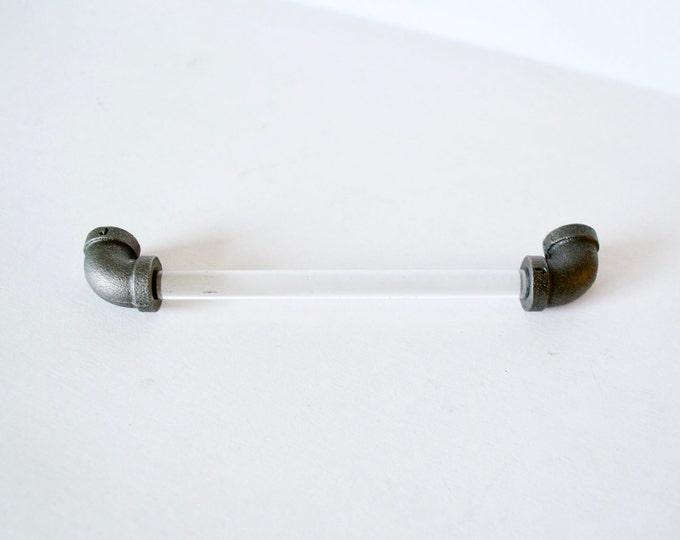 Acrylic Drawer Handles, Drawer Pulls: Black Iron Ends, SKU14250