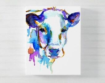 Canvas Cow Art, Watercolor Print, Animal Watercolor, Cow Painting, Print of Cow Painting, Farm Animal Art, Nursery Animal Art
