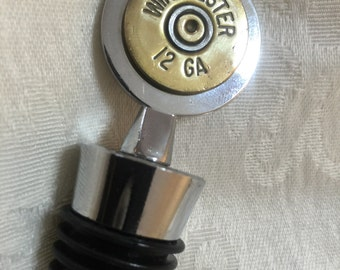 Ammo Shotgun Shell Wine Stopper -  12 gauge ammo on stainless steel and rubber wine stopper