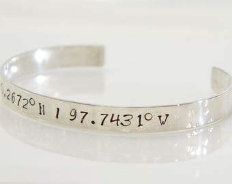 Sterling Silver Coordinates Cuff. Latitude and Longitude Bracelet. Personalized Custom Bracelet. Gift for Her. Hammered Texture.