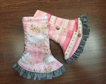 SSC Corner Drool Pads Pink Unicorns and Pink/white stripes cotton, REVERSIBLE with ruffle and loops Fits Ergobaby, Tula, Beco carriers