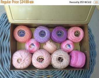 30% Off Vintage Violet Candy Tin, 11 Spools of Tatting Thread in Pink and Purple, Louis Sherry New York, Display Prop Decor Collection