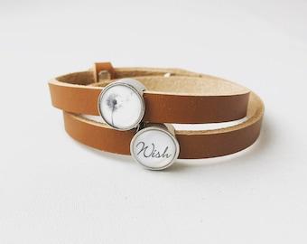 Leather bracelet Wish medium brown