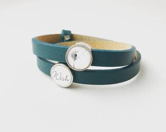 Leather bracelet Wish Petrol