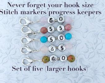 Never forget your hook size (Larger sizes)! Crochet stitch markers/progress keepers for 5 different hook sizes. Silver plated + gemstones