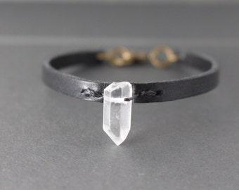 Crystal point bracelet // Black Leather Bracelet // Raw Quartz Crystal bracelet