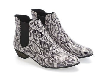 BLACK FRIDAY/CYBER Monday Ellie white snake Leather Ankle boots with stretch side panel  by Tamar Shalem