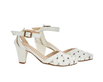 Milk white Heeled Sandals, Rose, brides shoes, leather shoes