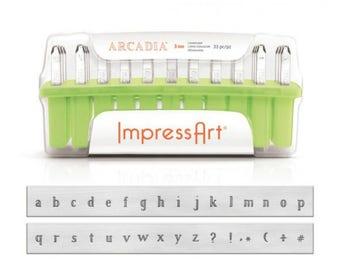 ImpressArt 3mm Arcadia Lowercase Metal Letter Stamp Set - Alphabet Steel Stamps - Melody Font Metal Letter Set - SGSC1325A-3MM