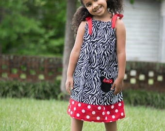 Girls dress, pillowcase dress, Minnie Mouse, zebra print, girls fashion, Disney, animal kingdom,animal print