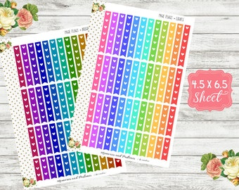 Check Off Flags - Page Flag Planner Stickers - Heart Check Off Flags - Check Off Stickers - Lights or Brights - Flag Stickers - Heart Flags