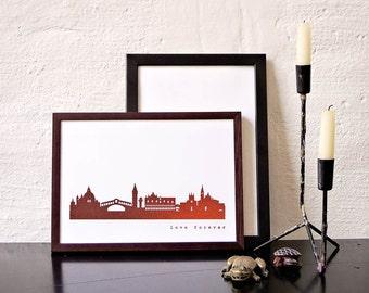 VENICE art print skyline in copper, Venezia Poster, individual copper poster Venice,  elegant Venice invitation card, for Venice-Lovers