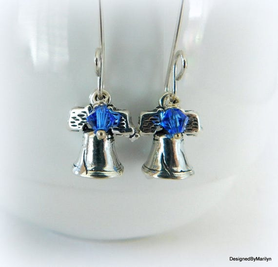 Sterling silver Liberty Bell earrings, handmade earrings, freedom jewelry, military jewelry, dangle earrings, American pride