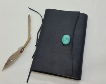 Black Leather Rustic Journal,  Turquoise Stone Rustic Journal, Refillable Leather Journal, Blank Leather Rustic Journal