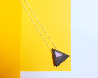 Textured resin triangle necklace // Archwiouca x KatieBetty collaboration // pink and grey